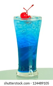 Close up one blue cocktail and cherry in glass