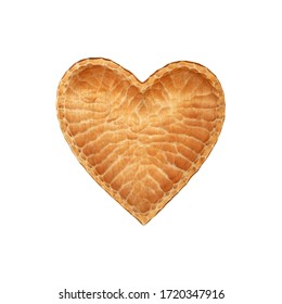 Close up one brown unpainted natural wooden carved heart shaped empty bowl isolated on white background