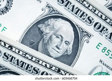 Close up of one dollar, United states money closeup, US president George Washington closeup, finance concept