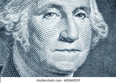 Close up of one dollar, United states money closeup, US president George Washington closeup, finance concept