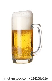 Close up one full glass mug of lager beer with froth and bubbles isolated on white background, low angle side view