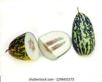 Close up of one full and half cut  winter gourd ,ash gourd, fig leaf gourd, malabar gourd , cucurbita green melon, pumpkin vegetables isolated on white background