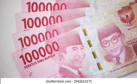 Close up of one hundred thousand rupiahs, seratus ribu rupiah. Indonesian Currency