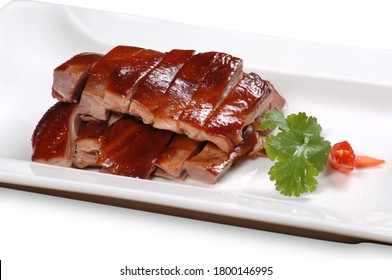 Close up of one of the most popular Chinese Sichuan province cuisine tea smoked duck (Chinese: Zhangchaya or Zhangcha duck)