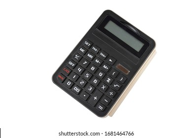 close up of one small calculator for house use or for school children for mathermatic, isolated on white background with clipping path.