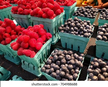 Close up of Ontario blueberry and raspberry fruits at local Byward market square, Ottawa, Canada.