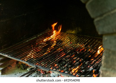 Close up of an open fire for a barbecue