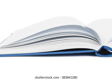 close up of open textbook with blank pages