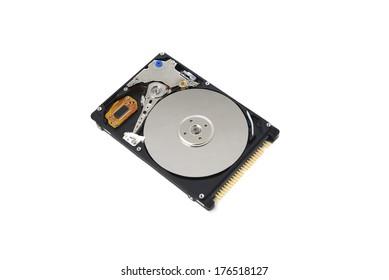 Close up of opened hard disk drive, data saving.