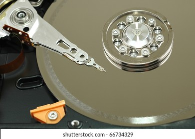 Close up of opened hard disk drive hard disc repairing concept , data saving concept