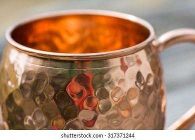 Close up of opening of copper mug