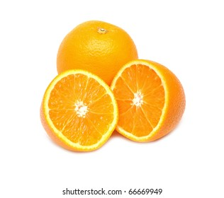 Close up of orange with another half isolated on white background