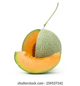 Close up of orange cantaloupe melon on white background