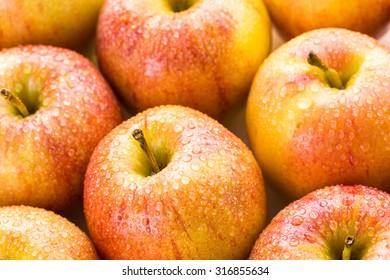 Close up of organic Gala apples.