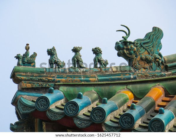 Close up of oriental roof details on a chinese temple in Beijing, China
