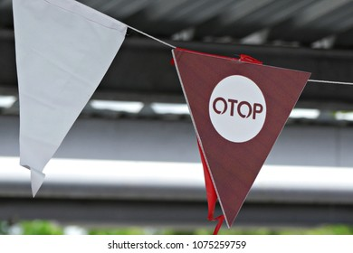 Close Up of OTOP Flags in the Thai OTOP Fair