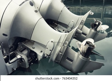 Close up of outboat engine propeller