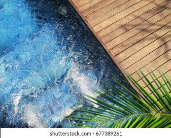 close up outdoor jacuzzi with clear clean water