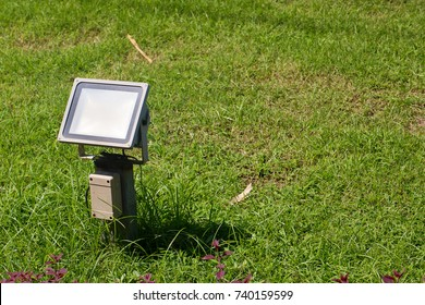 Close up outdoor LED lamp on the yard. Electrical light in the night. image for background, wallpaper and objects.