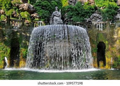 Close up of the Ovato Fountain of the Villa D'Este, Tivoli village in Italy during the day