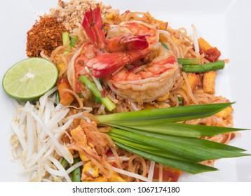 close up Pad thai shrimp is noodle food Thai Style.