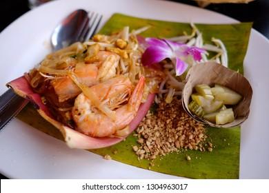 Close up of Pad Thai with shrimp in Thai resturant.