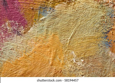 Close up of painting pallete, texture of dry oil painting
