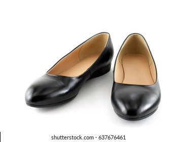 429647555 close up pair of black women shoes (low-heeled) isolated on white background
