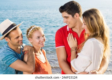 Close up Pairs of Couples Talking at the Beach on Tropical Climate.