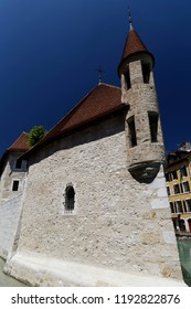 Close up of the  Palais de I'lle on the Thiou river Annecy France