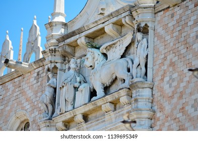 Close up of Palazzo Ducale, Venice, Veneto in Northeast Italy. Facade of the Doge's Palace