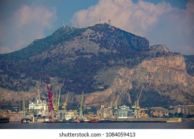 close up of palermos industrial port and shipping harbour, sicily, italy