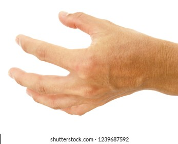 close up palm of hand in Asian man show body part in most men isolated on white background