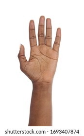 close up of the palm of a hand of a young black african woman on studio isolated white background