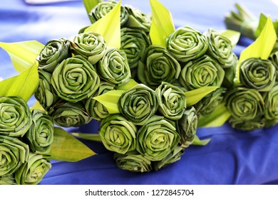 Close up of Pandan Leaf Roses by Thai handicraft , using fresh pandan leaves which are folded into the shape of rose.