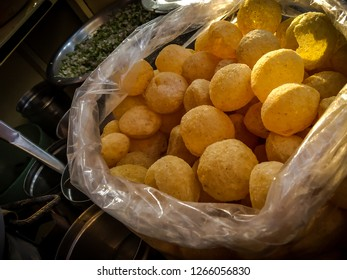 close up of Panipuri, Gol gappe an indian famous street snack food