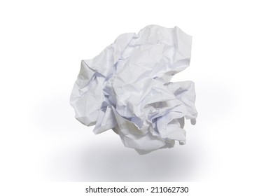 close up of a paper ball on white background