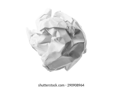 Close up of a paper ball on white background with clipping path.