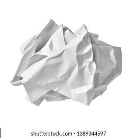 close up of  a paper ball trash on white background