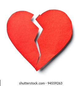 close up of  a paper broken heart on white background with clipping path