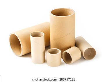 Close up paper cores isolated on white, deep focus image
