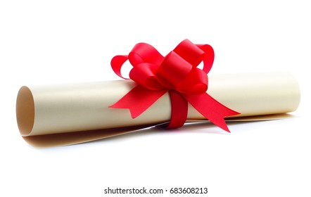 close up of paper scroll with red ribbon isolated on white background