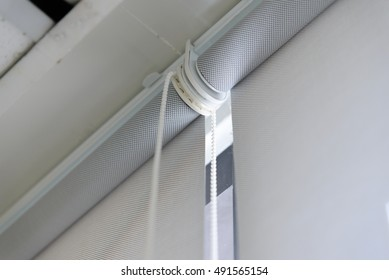 close up part of roller blind