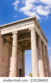 Close up part of the Temple Parthenon at the Acropolis - Greece