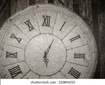 close up part of vintage clock in lather texture background