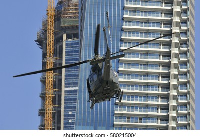 Close passing by chopper during trip to Dubai city.