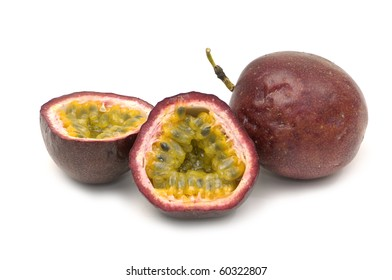 Close up passion fruit , cut open