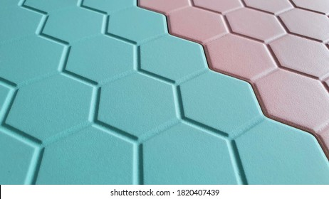 close up of pastel ,blue and pink color ,interior hexagon tiles. trendy interior material for kids and sweet concept.