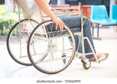 Close up patient on a wheelchair in hospital.