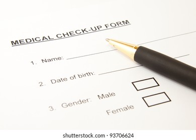 Close up of patient's medical check-up form